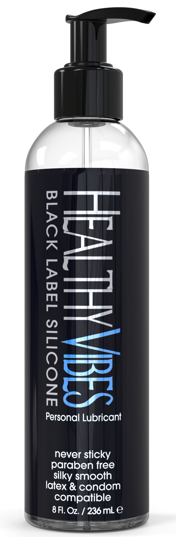 Silicone Based Personal Lubricant By Healthy Vibes, 8 Fl Oz, Black Label