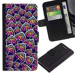 Stuss Case / Funda Carcasa PU de Cuero - Rainbow Floral Colores Purple Pattern - Sony Xperia Z3 Compact