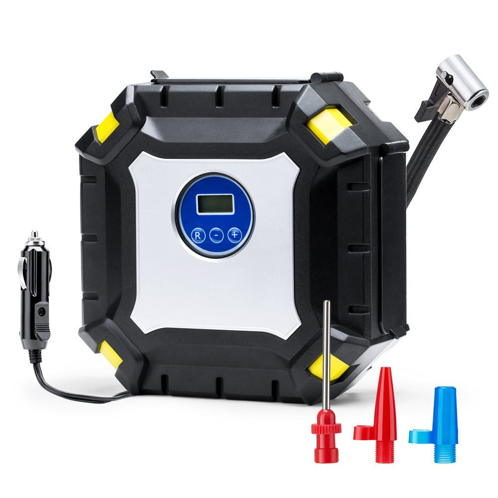 Wonyered Digital Tyre Inflator, Portable Auto Air Compressor Tire Pump LED Light Pump 12V DC 100PSI with 3M Cable and 3 Nozzles & Adaptors for Car, Truck, Bicycle or Basketball