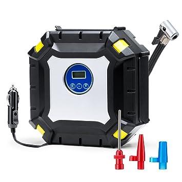 Wonyered Inflador de neumáticos digital portátil 12 V DC Compresor de aire automático LED Bomba de luz con cable 3M para coche, camión, ...