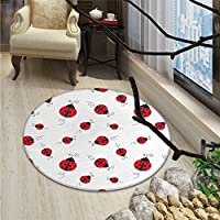 Ladybugs small round rug Carpet Ladybug with Dotted Wings Swirls and Curves Abstract Simple Pattern AnimalOriental Floor and Carpets Red Black White