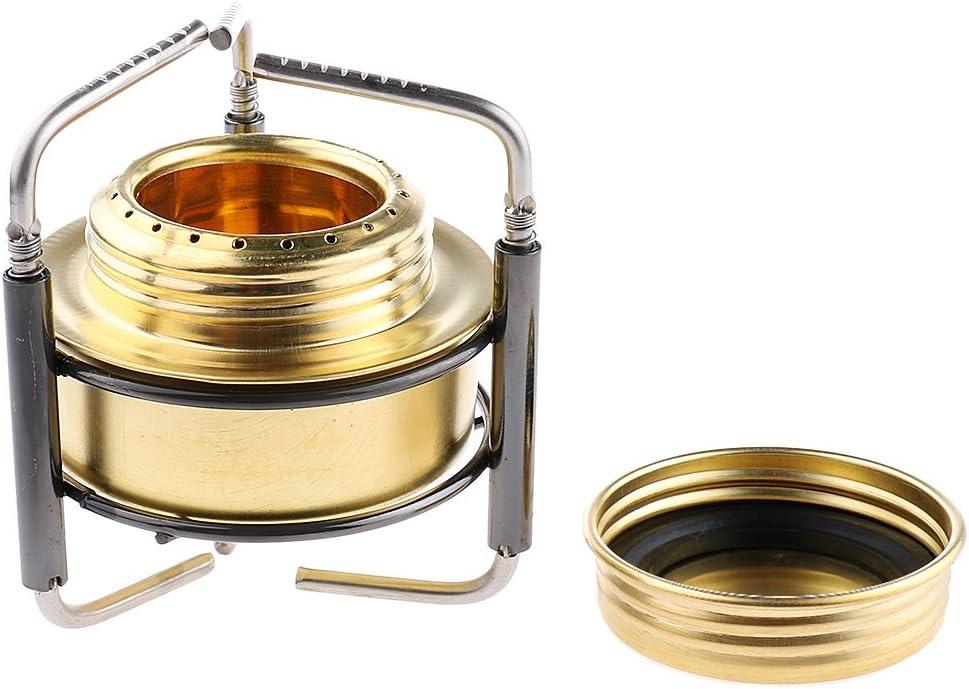 Overmont Mini Kupfer Spirituskocher Campingkocher mit Aluminium Ständer Gold