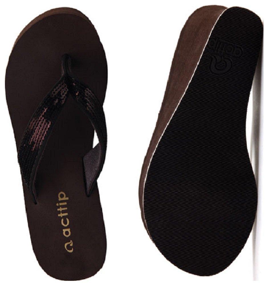 28736e64d564 Hanxue Womens Glitter Chunky Wedge Flip-flops Sandals Black US7   Sandals    Clothing