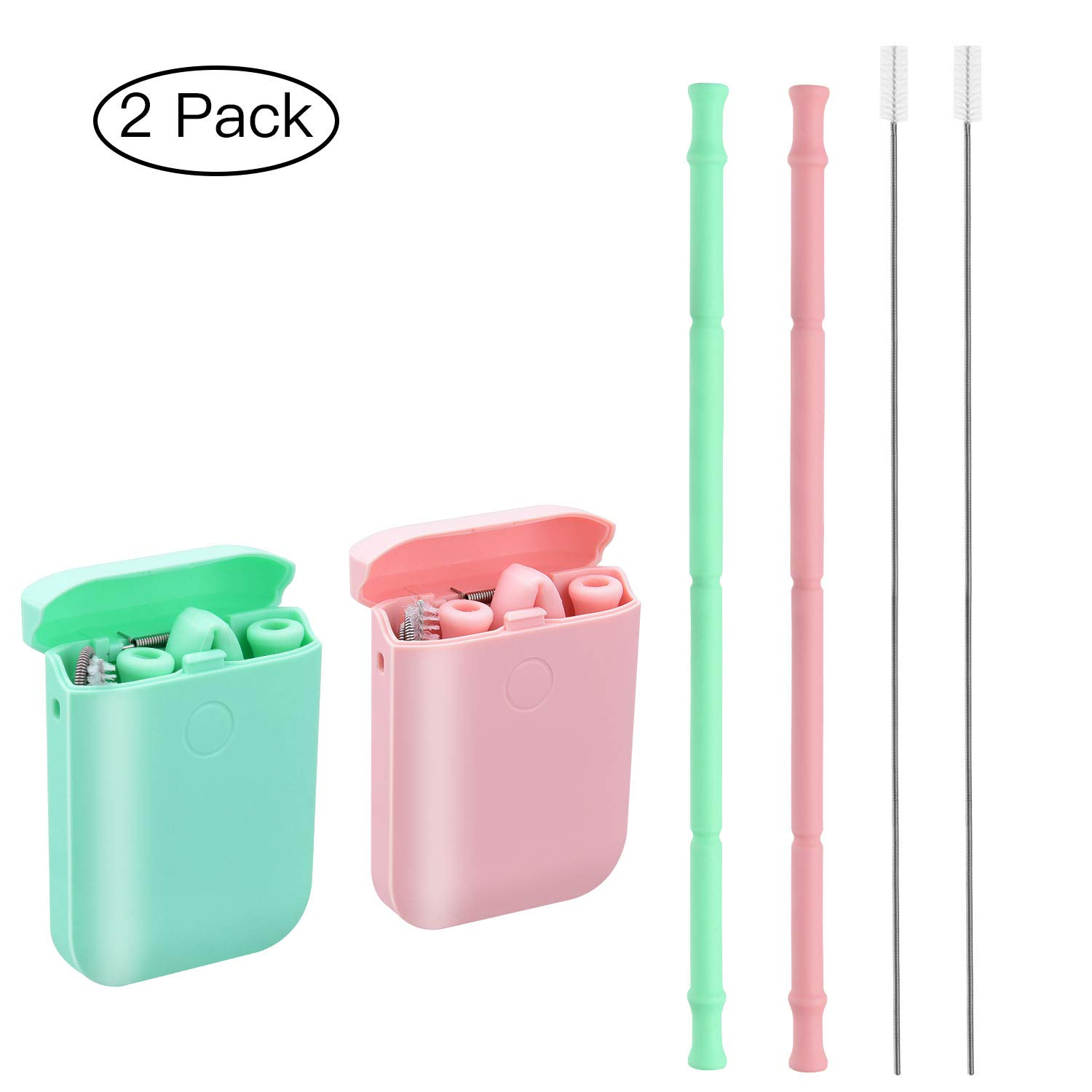 Easyworld Collapsible Reusable Straws Silicone Drinking Straw Premium Food-Grade Portable Foldable Straws 2 Pack (Pink/Green)