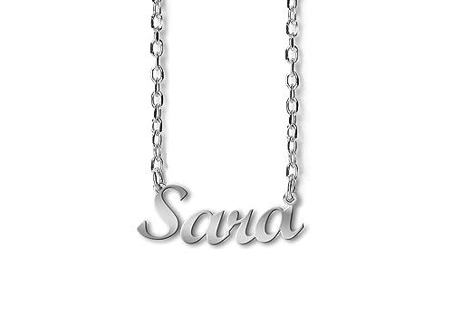 80ec193510e2 NOMISSIMO G03 Collar con nombre Sara de plata 925 rodeado antialérgico.  Hecho en Italia.  Amazon.es  Joyería