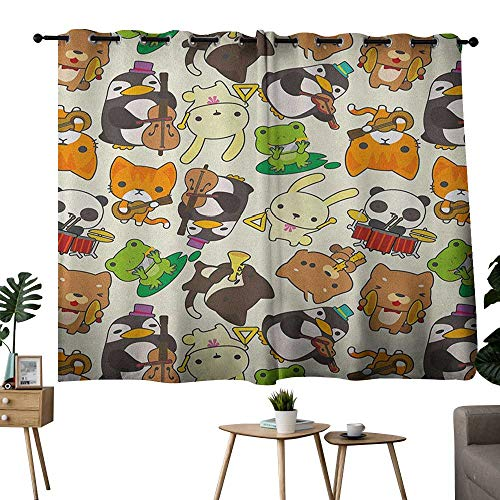 Thermal Insulated Blackout Curtain Nursery,Cartoon Style Animal Music Band Penguin on Cello Cat on Guitar Panda on Drums Print, Multicolor,Rod Pocket Curtain Panels for Bedroom & Living Room ()