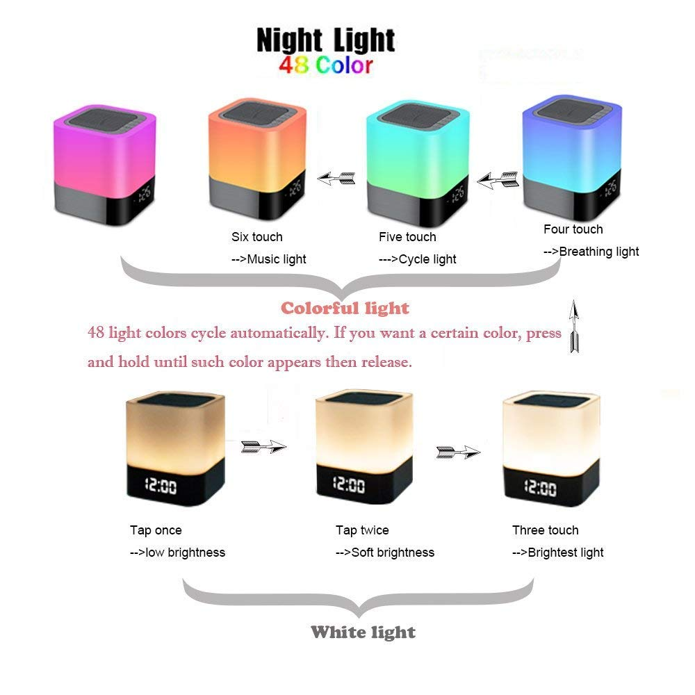 Foreita Night Lights Bluetooth Speaker Best Gifts for Kids,Party Support MP3 Player Dimmable RGB Night Light Touch Sensor Bedside Table Lamp 12//24H Digital Calendar Alarm Clock