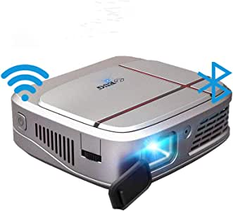 Mini Portable WiFi DLP Projector with Bluetooth Battery, Android 7.1 Smart Wireless Pocket LED Projector 3300 Lumens Support 1080P Airplay Miracast HDMI USB Audio for iPhone iPad Mac Laptop PC PS4 TV