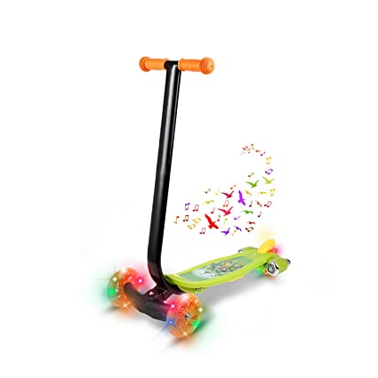 Jaketen Kick Scooter 3 Wheels with LED Flashing and Music Push Scooter for Kids Gift