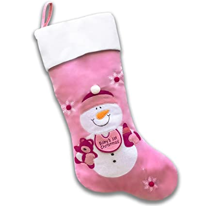 babys first christmas stocking pink snowman