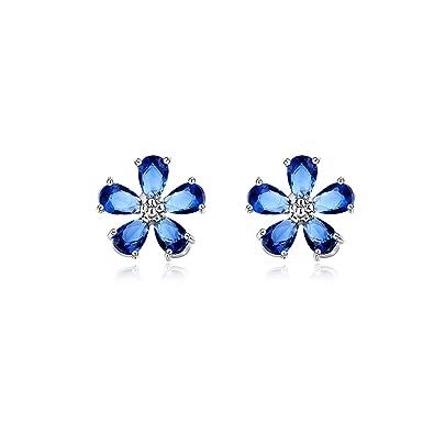 742c83cb1 G&Roline 11mm*11mm Zirconia Blue Flower Sterling Silver Stud Earrings Sets  + Extra Earnuts, Silver: Amazon.co.uk: Jewellery