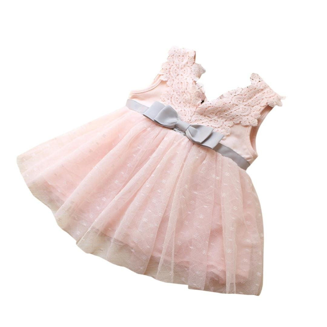 Clode for 0-3 Years Old, Kids Baby Girls Clothes Big Bowknot Girls Lace Princess Bridesmaid Pageant Lace Mini Dress Clode-T60