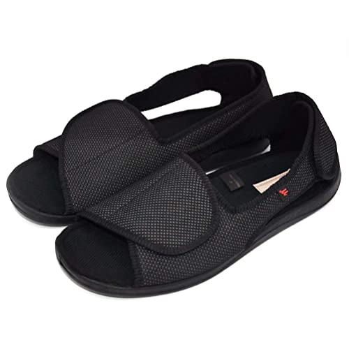 c00a6231ea48e AOIREMON Men's Open Toe Edema Slippers Extra Wide Width Adjustable Sandals  Diabetic Shoes for Swollen Feet Elderly Father Husband.