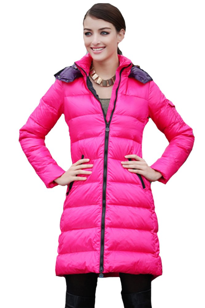 Queenshiny New Style Women's Long Down Coat with Hood-Rose Red-XS(0-2)