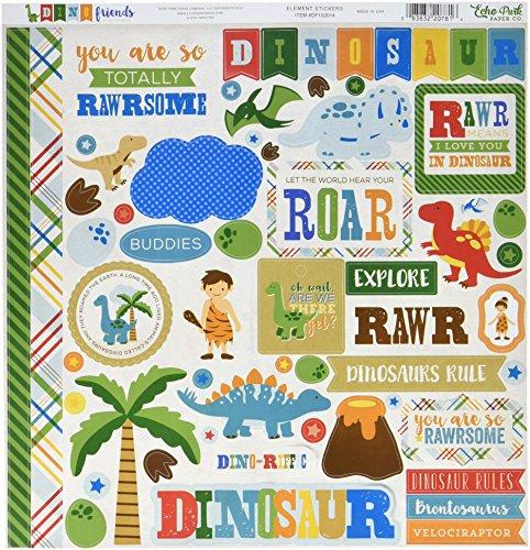 Echo Park Paper DF102014 Dino Friends Cardstock Stickers, 12