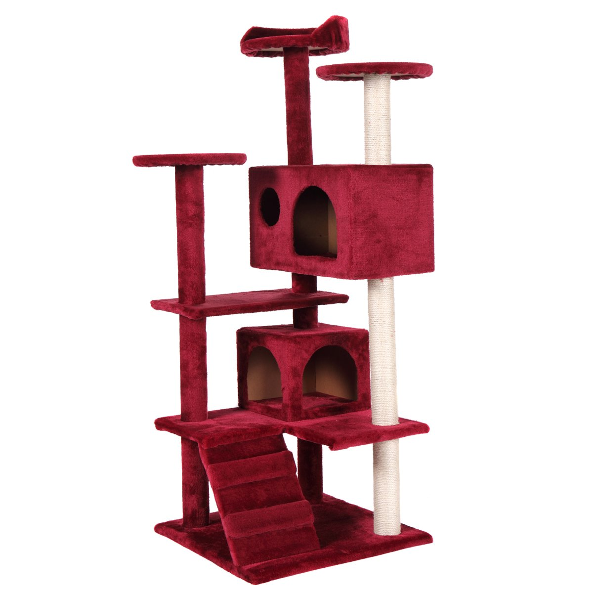 JAXPETY Cat Tree Tower Condo Furniture Scratch Post Kitty Pet House Play Red NEW