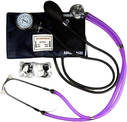 Valuemed esfigmomanómetro + Sprague Rappaport Estetoscopio, dispositivo médico, morado – Tensiómetro aneroide profesional pro CE NHS unidad + estetoscopio en caja: Amazon.es: Jardín