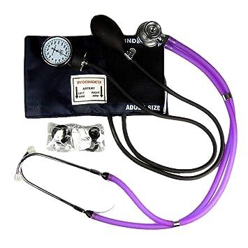 Valuemed esfigmomanómetro + Sprague Rappaport Estetoscopio, dispositivo médico, morado – Tensiómetro aneroide profesional pro CE NHS unidad + estetoscopio ...