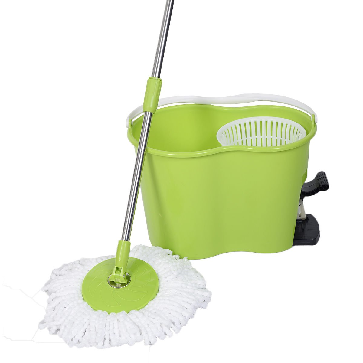 Goplus Microfiber Spinning Mop Easy Floor Mop W/ Bucket and 2 Head 360° Rotating (Green)