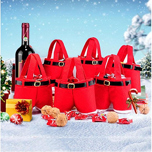 UniquQ 6 PC Christmas Candy Bag Santa Pants Treat Bags with Handle Portable Candy Gift Baskets for Wedding (Small)