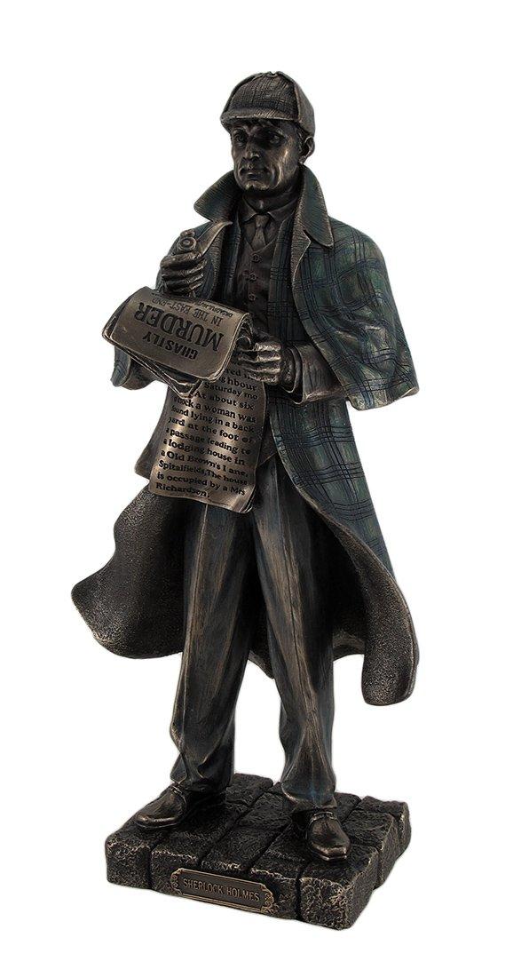 Resin Statues Detective Sherlock Holmes Metallic Bronze Statue 3 X 11 X 3.5 Inches Bronze
