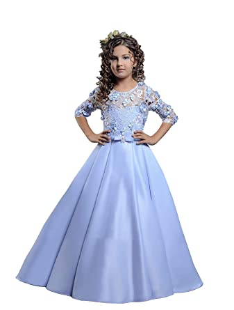 Amazon.com  Lace Satin Flower Girl Dress for Wedding Kids Pageant Ball Gowns  with Train  Clothing 2332dd06f6df