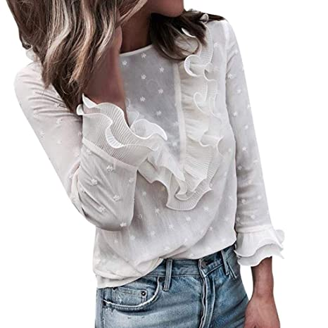 Bestow O Cuello Camiseta de Manga Larga Tops Blusa Ladies Encaje de Cuello Redondo Botš®n Mujer Ladies Casual Encaje Lunares: Amazon.es: Ropa y accesorios