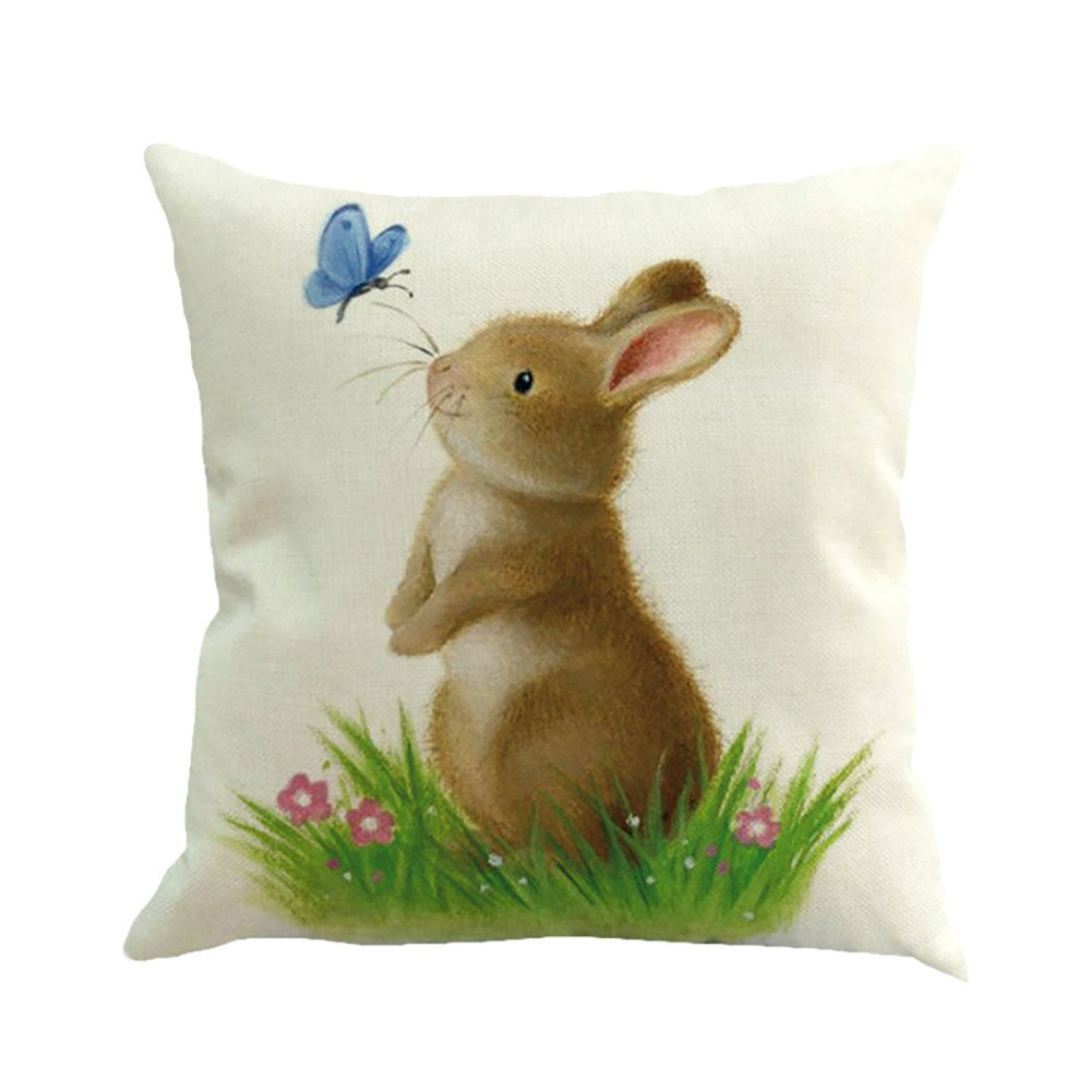 Easter Rabbit Pillow Case Linen Cushion Cover Home Decorative Bunny Chick Egg Flower Blessing Pillowcase for Sofa Bedroom Bookstore (A)