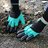 Petiner Garden Genie Gloves with Fingertips Claws Quick Easy to Dig and Plant Safe for Rose Pruning Gloves Mittens Digging gloves(Claws on EACH Hand)