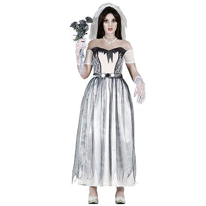 NET TOYS Disfraz Fantasma Mujer Traje Novia Zombie M 38/40 ...