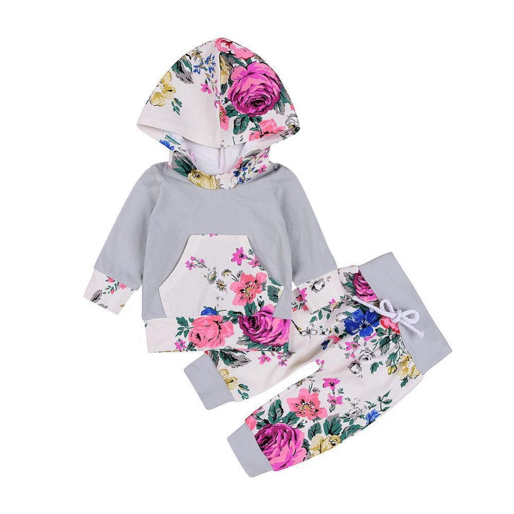 Brightup Baby Girl 2 Pieces Set Outfit Flower Print Hoodies Pullover Tops+ Sweatpants