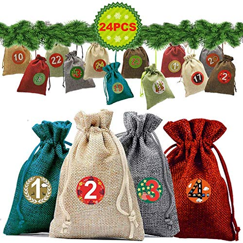 CHUHE 24pcs Christmas Gift Wrapping Bags,1-24 Advent Numbers Stickers Holiday Treats Bags Christmas Party Favor Pouch Cloth Bags (Number 1 Christmas)