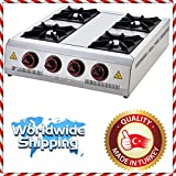 Commercial Kitchen Equipment Heavy Duty RANGETOP 4 BURNER cooktop PROPANE GAS Countertop Multipurpose Hot Plate Range Stove Cast iron Hotplate Cooker Stainless Steel Body CE CERTIFIED