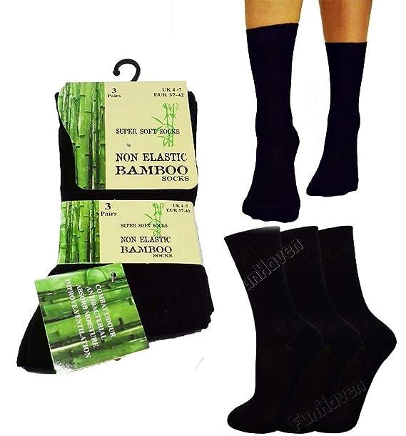 Anti Bacterial Wide Top Socks Shoe Size UK 4-7 Ladies Super Soft and Comfort Non Elastic Bamboo Socks Womens Diabetic