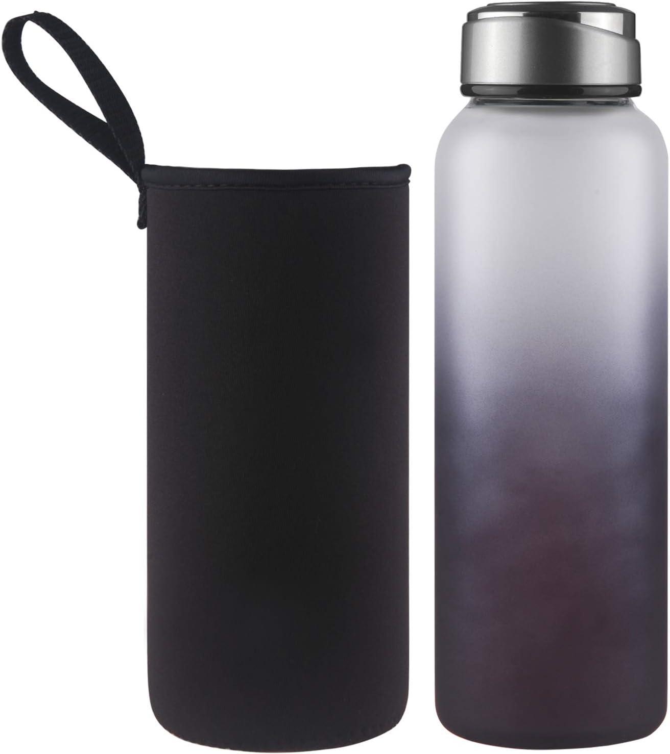 DEARRAY Botella de Agua de Cristal de Borosilicato Deportivo1000ml / 1 Litro, Botella de Agua de Vidrio con Funda de Neopreno y Elegante Tapa de Acero Inoxidable