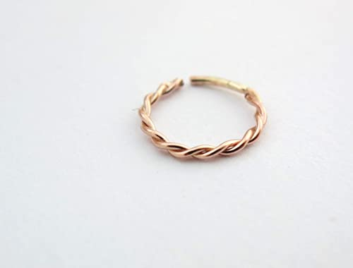 Amazon Com Gold Nose Ring 14k Rose Gold Rope Ear And Nose Piercing Jewelry Indian Nose Hoop Minimalist Tribal Handmade Boho Piercing Jewelry Also Good For Septum Tragus Helix Cartilage Daith Rook 22g