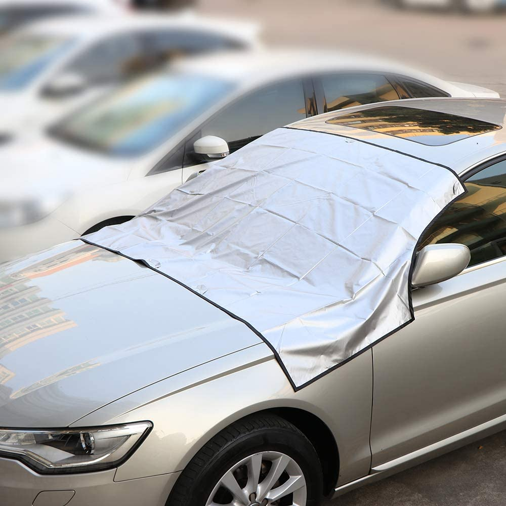 Anti-Frost Windscreen Cover Snow Cover Ice Protection Foils Dust Sun Shade Protector for All Weather Large, Black 245145cm//84.7ft DDSKY Magnetic Car Windshield Cover