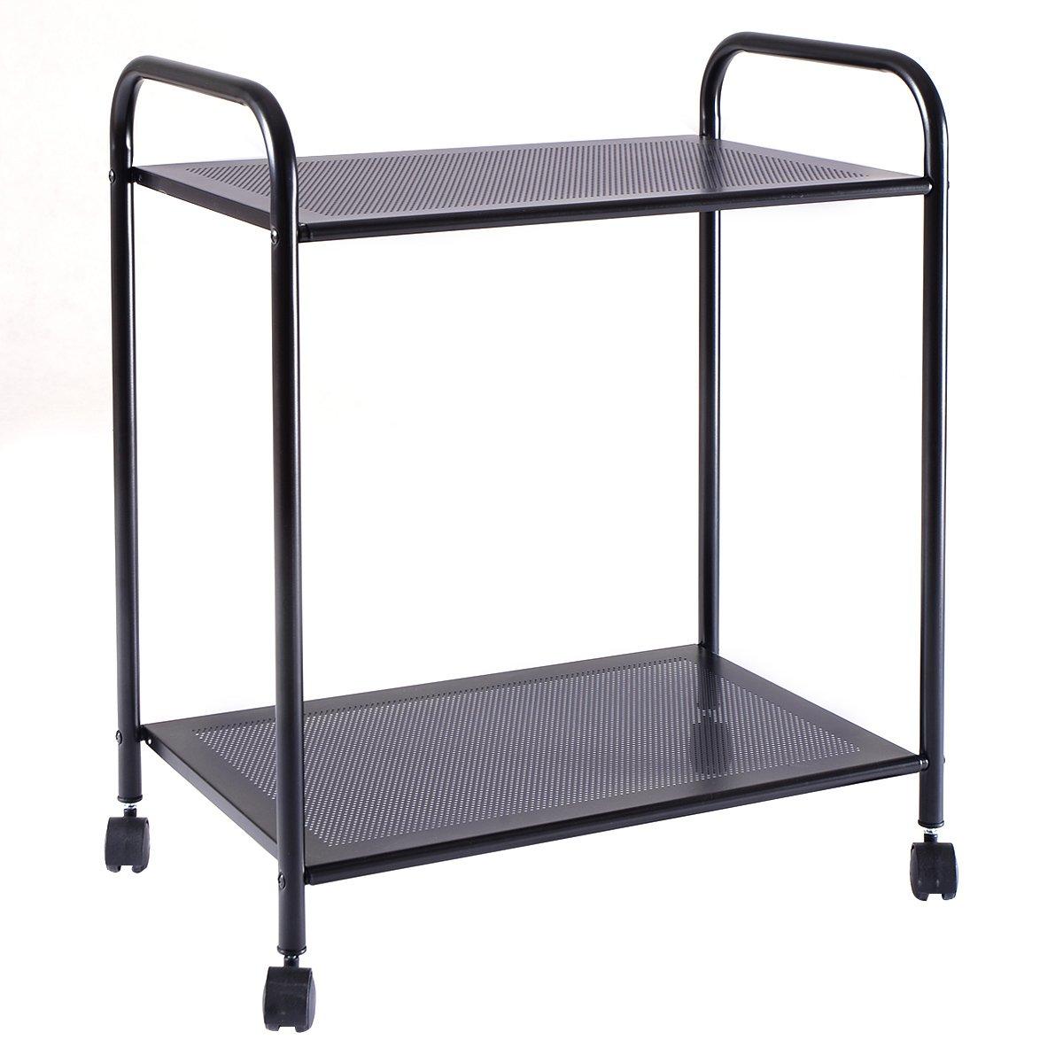 Giantex 2 Tiers Storage Display Rack Mesh Shelf Home Kitchen Bathroom Organizer W/Wheels (2 Tiers)