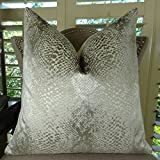 Thomas Collection Silver Metallic Luxury Throw Pillow, Larry Laslo Ivory Scale Modern Decorative Pillow, COVER ONLY, NO INSERT, Made in America, 11370