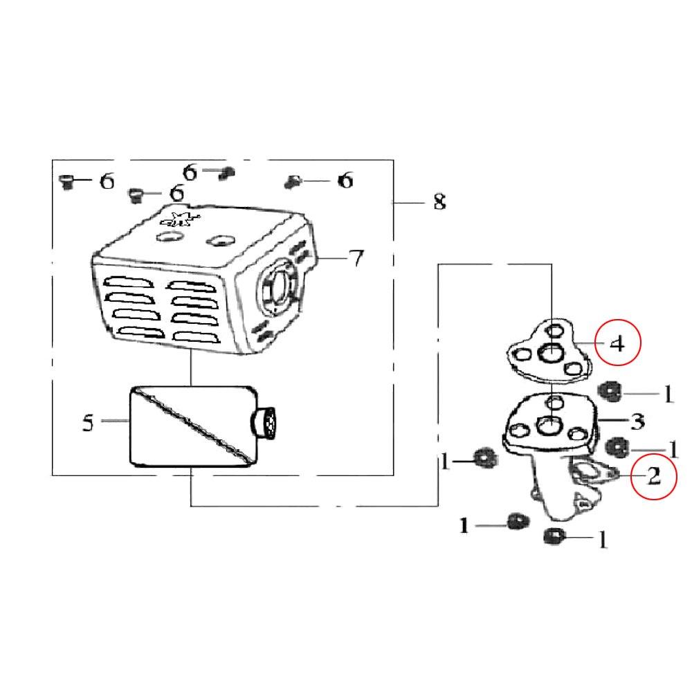 Ersatzteil f/ür Benzinmotor 16 PS Dichtungssatz mit Kolbenring