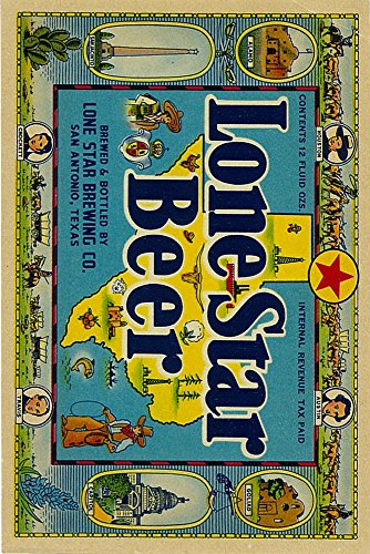 Lone Star Brand Beer Label - San Antonio, Texas (9x12 Collectible Art Print, Wall Decor Travel Poster) (Lone Star Beer Poster compare prices)