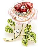 Fashion Wang placcato oro Bella Peony di sicurezza pin Spilla Rhinrstone Gioielli con rosa e rosso smalto Smalto Fiore Verde Foglia Bouquet Forma punte del collare per le donne accessori per abiti BH00089