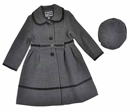 f3098c02e Rothschild Girls Faux Wool Velvet Trimmed Coat With Hat (4, Dark Charcoal)