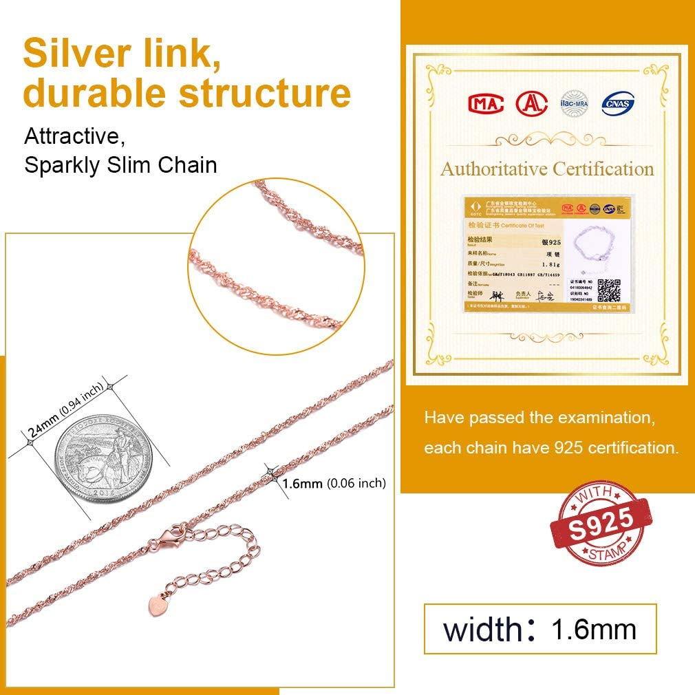 1618222630 With Gift Box PROSILVER Slim Necklace Women Sparkly 925 Sterling Silver 1.5//1 mm Rolo//Box Link//Melon Chain Necklace+Lobster Clasps S925 Tag