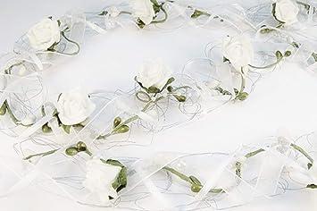 Amazon De Rosengirlande 1m X 5cm Weiss Silber Tischdeko Hochzeit