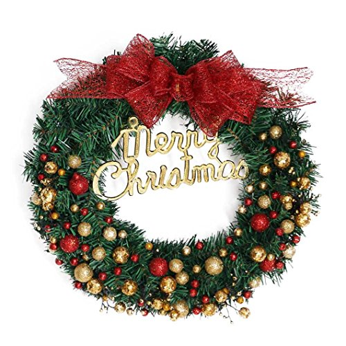 Ikevan Merry Christmas Wreath 40cm Window Door Decorations Gold Powder Ball Ornament