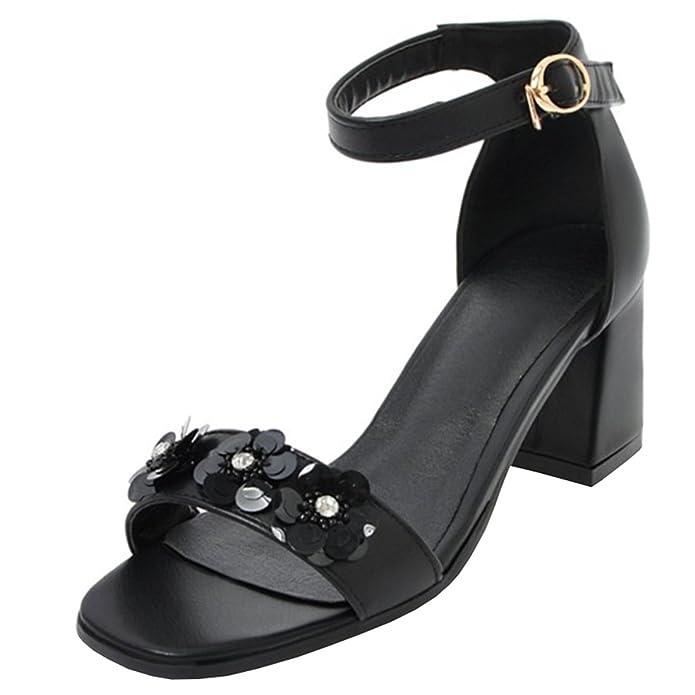 Atyche Damen Riemchen High Heels Sandalen mit Schnalle und Blumen Blockabsatz Pumps Moderne Offen Schuhe