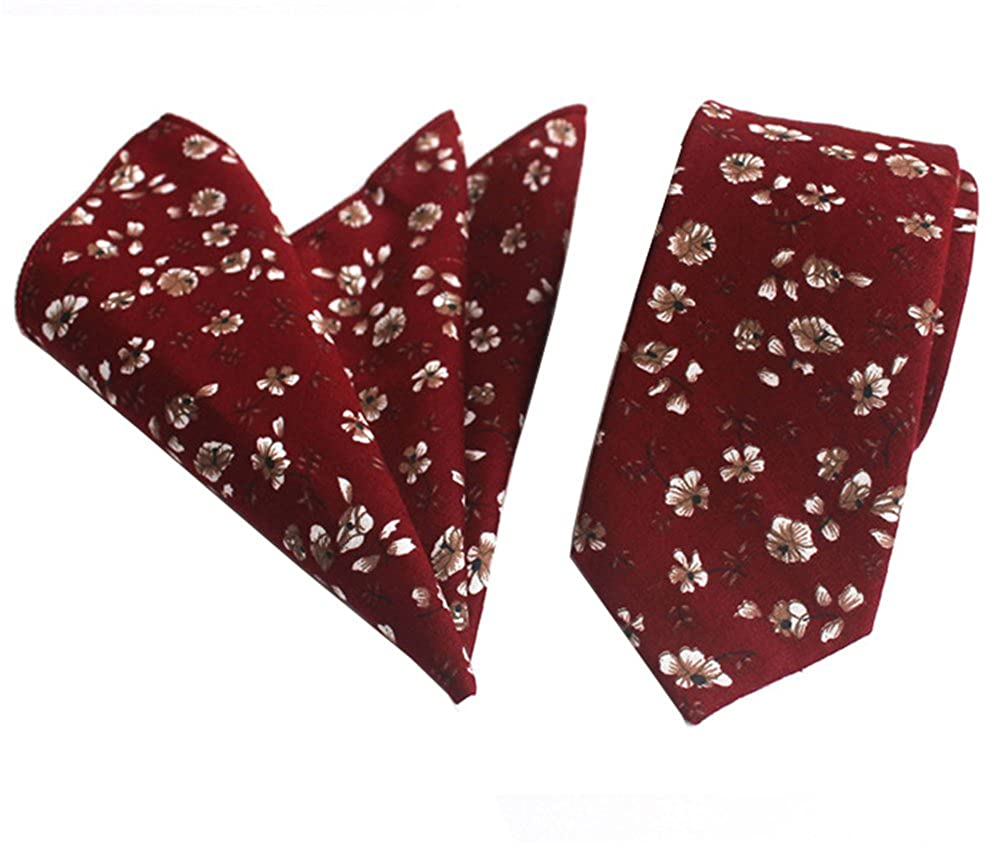 Secdtie Mens Skinny Handkerchief Tie Cotton Floral Necktie /& Pocket Square Set