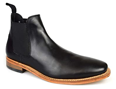 8aa36d07fd6 Mens Premium Leather Black Goodyear Welted Chelsea Boots 3013B ...