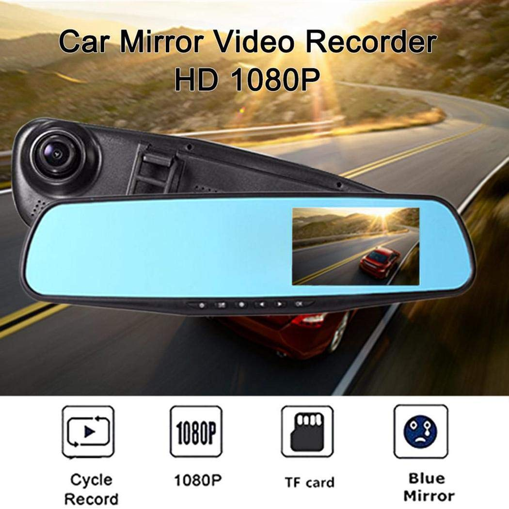 1080P C/ámara de Coche Grabadora de Conducci/ón de Espejo Retrovisor Soporte de Tarjeta 32G